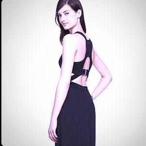 Long Black Express Dress with Cutouts